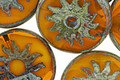 Czech Glass Pumpkin Picasso Sun Coin 22mm