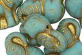 Czech Glass Turquoise w/ Gold Elephant 20x21mm