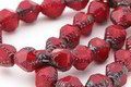 Czech Glass Cherry Picasso Etched Bicone 10x8mm