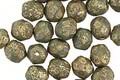 Czech Fire Polished Glass Matte Textured Sea Green w/ Gold Flecks Round 6mm