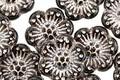 Czech Glass Jet w/ Silver Wild Rose Coin 13mm