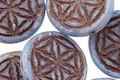 Czech Glass Light Cornflower w/ Dark Brown Flower of Life Geometry Coin 19mm