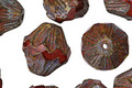 Czech Glass Weathered Barn Red Baroque Bicone 13x11mm