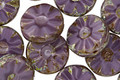 Czech Glass Eggplant Picasso Flower Window Coin 12mm