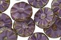 Czech Glass Eggplant Picasso Flower Window Coin 12mm