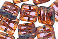 Czech Glass Amethyst Picasso Carved Square 10mm