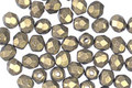 Czech Fire Polished Glass Gold Metallic Suede Round 4mm