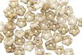 Czech Glass Matte Etched Ivory w/ Gold Bali Style Daisy Spacer 2x5mm