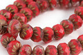 Czech Glass Red Vintage w/ Gold Cruller 7x9mm
