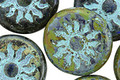 Czech Glass Earth Picasso w/ Turquoise Sun Coin 22mm