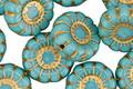 Czech Glass Bronzed Turquoise Daisy 13mm
