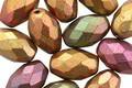 Czech Glass Matte Autumn Metallics Faceted Rice 12x8mm