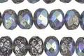 Czech Glass Transparent Montana Blue w/ AB Mercury Finish Fire Polished Rondelle 6x8mm