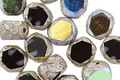 Czech Glass Dark Garden AB w/ Antique Silver Faceted Table Cut Oval 8x7mm