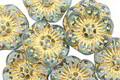 Czech Glass Beach Glass w/ Gold Wild Rose Coin 13mm