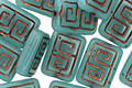Czech Glass Bronzed Teal Tribal Rectangle 12x9mm