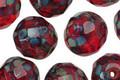 Czech Glass Garnet Picasso Fire Polished Round 12mm