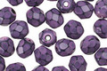 Czech Fire Polished Glass Purple Round Snake Beads 6mm