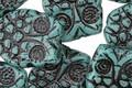 Czech Glass Persian Turquoise w/ Black Retro Owl 18x15mm