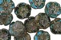 Czech Glass Bora Bora Picasso Hibiscus Coin 9mm