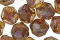 Czech Glass Glowing Amber Picasso English Cut Bead 8x10mm