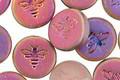 Czech Glass Matte Rosaline w/ Rainbow Finish Bee Coin 12mm