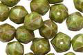 Czech Glass Green Tea Picasso English Cut Bead 7x8mm