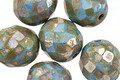 Czech Glass Ocean Water Picasso Fire Polished Round 12mm