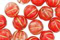 Czech Glass Cherry Swirl w/ Gold Melon Round 8mm