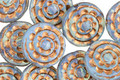 Czech Glass Bronzed Blue Opal Spiral Coin 13mm