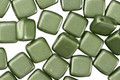 CzechMates Glass Pearl Coat Olive 2-Hole Tile 6mm
