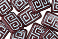 Czech Glass Oxblood w/ Turquoise Wash Tribal Rectangle 12x9mm