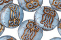 Czech Glass Bronzed Alice Blue Owl Coin 14mm