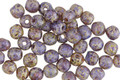 Czech Glass Etched Violet Picasso Round Druk 4mm