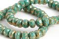 Czech Glass Green Turquoise w/ Gold Flecks Fire Polished Rondelle 3.5x5mm