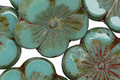 Czech Glass Green Turquoise Picasso Hibiscus Flower 21mm