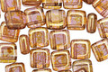 CzechMates Glass Luster Rose Gold Topaz 2-Hole Tile 6mm