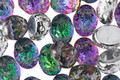 Czech Glass Galactic & 1/2 Silver Domed 2-Hole Oval 6.5x8mm
