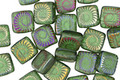 Czech Glass Laser Etched Ammonite on Transparent Matte Tourmaline Green w/ AB Finish 2-Hole Tile 6mm