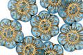 Czech Glass Matte Aquamarine w/ Gold Wild Rose Coin 13mm