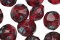 Czech Glass Garnet Picasso Saucer 7x11mm