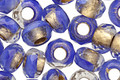 Czech Glass Cornflower w/ Gold Lining Large Hole Fire Polished Rondelle 6x9mm