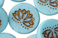 Czech Glass Matte Bronzed Turquoise Lotus Coin 18mm
