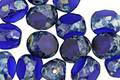 Czech Glass Cobalt Picasso Trica Beads 8x7mm