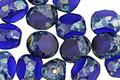 Czech Glass Cobalt Picasso Trica Beads 8x7mm