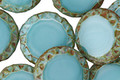 Czech Glass Turquoise Silk Picasso Tribal Coin 15mm