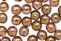 Czech Glass Luster Transparent Gold/Smoky Topaz Round 6mm