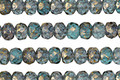 Czech Glass Aquamarine Waters w/ Gold Flecks Fire Polished Rondelle 3x5mm
