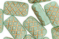 Czech Glass Luster Seafoam Patterned Rectangle 14x8mm