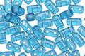 CzechMates Glass Teal 2-Hole Brick 3x6mm